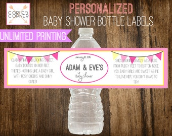 Pink and Yellow Pennant Baby Girl Personalized Baby Shower Water Bottle Label