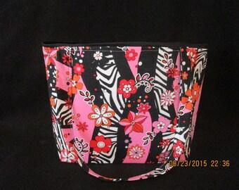 Flowers and Zebra print Handbag