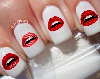 Nail art design etsy 52 lips nail decals prinsesfo Image collections