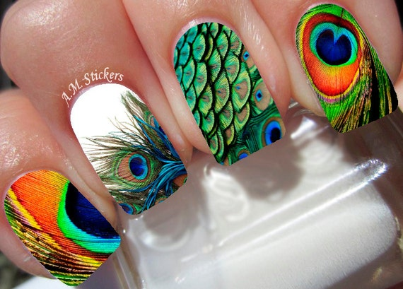 Peacock Feather Nail Decals By Amstickers On Etsy