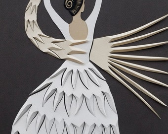 PAPER DANCER ballerina white and grey with a bird PRINT in different sizes