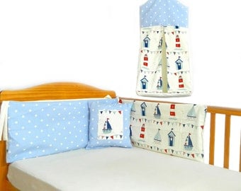 Seaside baby bedding nautical baby bedding beach hut bumper nautical bumper set