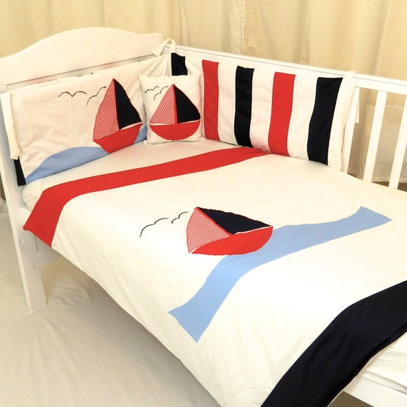 Nautical Infant Bedding: Nautical Baby Bedding Seaside Baby Quilt Baby Nautical Bumper