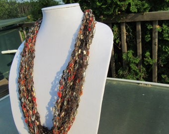 Crochet ladder yarn scarf/necklace
