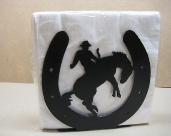 Horseshoe Cowboy and Horse Napkin Holder Letter Holder