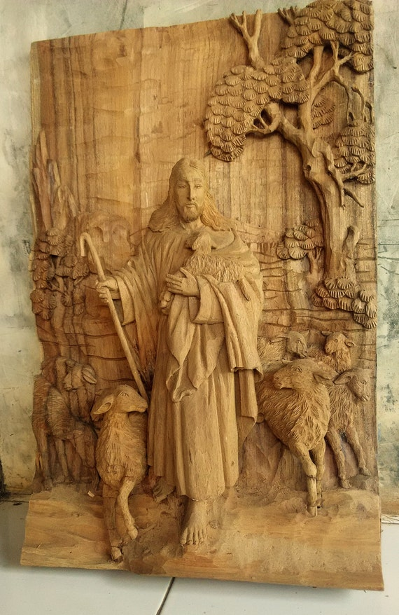 Jesus Wall Decoration : Items similar to home wall decor art wood carving the
