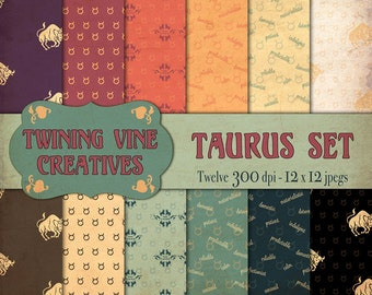 Zodiac Taurus Digital Papers, Vintage Paper, Commercial Use, Taurus Paper, Zodiac Paper, Astrology Paper, Horoscope Paper, Taurus Pattern