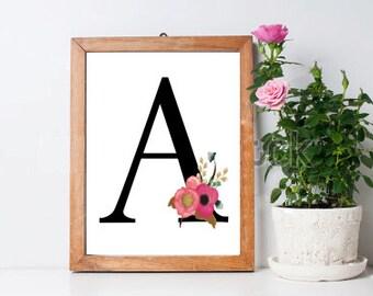 Initial Print, A Print, A Monogram Letter, Personalised Print, Digital Download, Instant Download, Printable Art