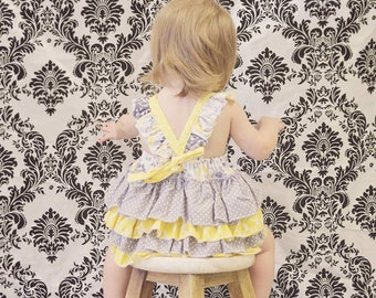 Girls custom boutique over the top Baby Ruffle romper yellow/grey