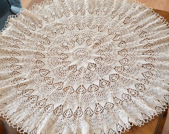 """29"""" Hand knitted doily / small round tablecloth"""