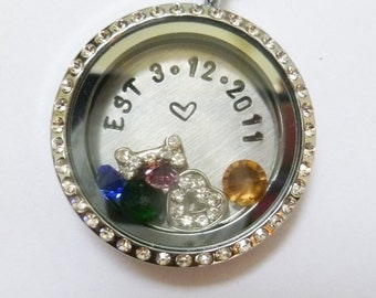 Our Family History - Established - Wedding or Anniversary - Floating Charm Locket - Memory Locket - Custom Stamped Gift
