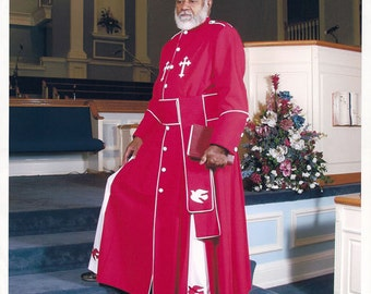 Pastors Robes-Joshua 3-Red Cassock with white pleats, buttons, doves and piping suitable for the Anointed Man of God