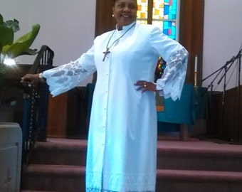 Robes for Clergy (Leah) White Robe Perfect for Communion, Weddings, Preaching engagements, and so much more