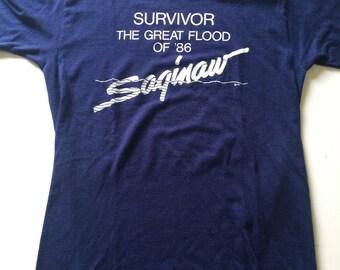 RARE Vintage SURVIVOR The Great Flood Of '86 Saginaw T Shirt