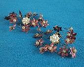Delicate Wire Metal Flower Earrings 1940s