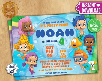 Bubble Guppies Invitation - EDITABLE TEXT - Customizable Bubble Guppies Birthday Party Invite - Instant Download