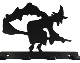 Witch Flying on Broomstick Silhouette Key Hook Rack - metal wall art