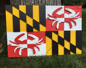 Wood Maryland Flag, Hand Crafted & Painted Maryland Flag