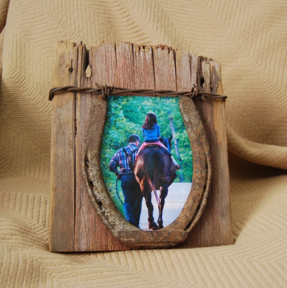 Reclaimed barn wood photo and horse shoe by ...