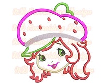 Strawberry Shortcake applique,  Machine Embroidery Design, girl face,  gr-031