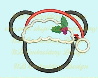 Christmas Mickey Applique Design, Santa Hat Machine Embroidery,   ms-055