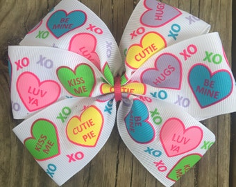 Valentine's Day Conversation Hearts Bow
