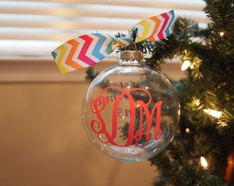 Monorgramming Clear Glass Ball Ornaments