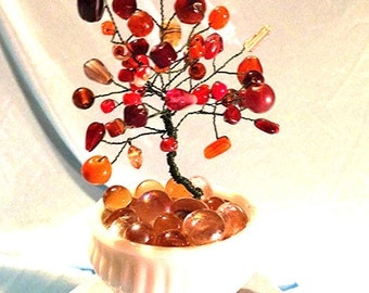 Sunset Orange 'Autumn Blessings' Crystal Tree with Milk Glass Petite Vase