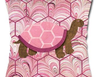 Tickle Me Pink Turtle Throw Pillow
