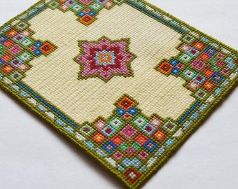 1:12 Handmade Miniature dollhouse cross stitch carpet