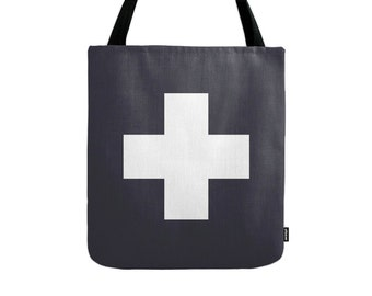 Swiss cross tote bag swiss cross bag black tote bag black canvas tote bag black and white swiss cross bag gift for her modern bag