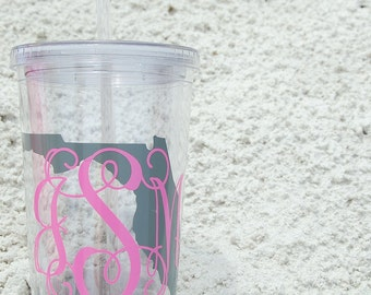 Personalized Monogram 20oz Acrylic Tumbler (with straw)- State Pride Option