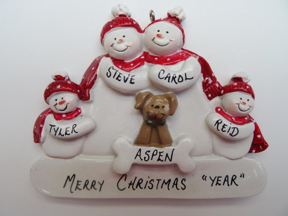Family of 4 christmas ornament with dog personalized free for Family of 4 christmas ornament