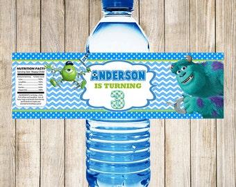 Monsters University Water Bottle Labels