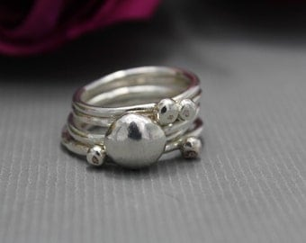 Sterling Silver Bubble Stacking Ring Set