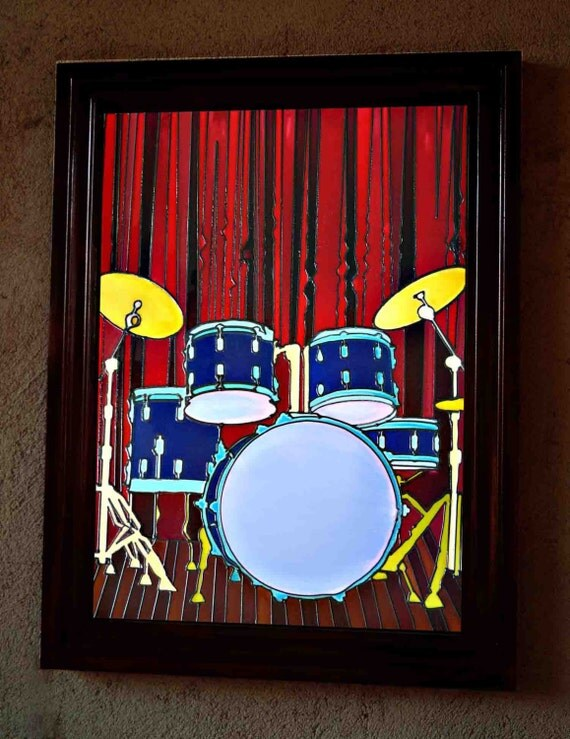 Drum Set Wall Decor : Items similar to drum set stained glass styles painting
