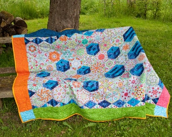 One block wonder flowers dice Hexagone quilt garden blanket Beach blanket