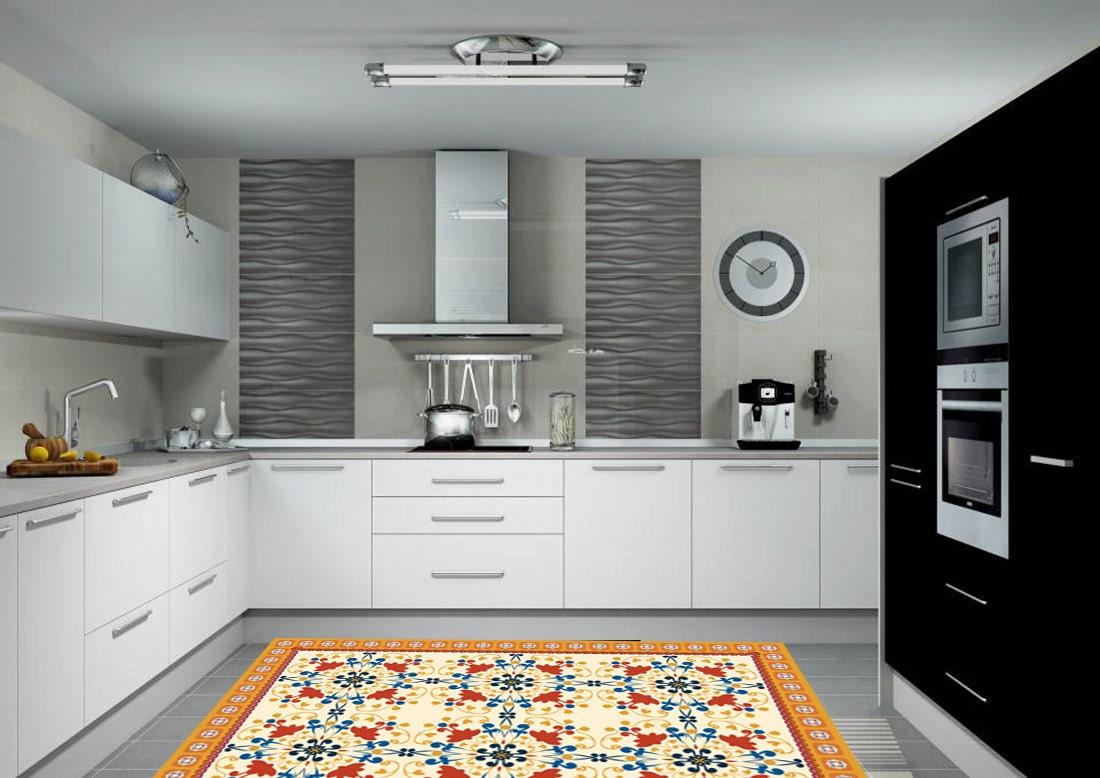 Pattern rug model tile 012 linoleum rug kitchen floor for Flooring suitable for kitchens