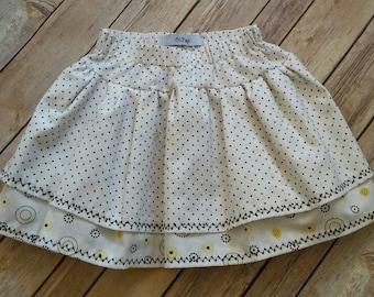 Beautiful Handmade Girl Double Layer Black, White, Yellow Polka Dot Twirl Skirt Size 4
