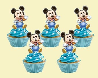 Baby Mickey Mouse Cupcake Topper, Cupcake Picks DIGITAL FILE, You Print