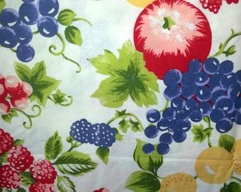 Vintage 1950s quilt fabric  cotton with  fruit motif.
