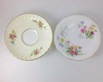 Vintage Mintons Lorraine Pattern Saucer and Queen Anne Made in England Bone China with Scalloped Edges, Pink and Purple Flowers, Gold Trim