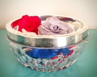 Small glass & silver bowl
