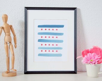 Stars and Stripes - Watercolor Abstract Printable Poster