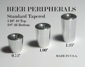 """Tapered Beer Tap Handle Ferrule Chrome Aluminum  5/16'-18 and 3/8""""-16  Through Hole"""