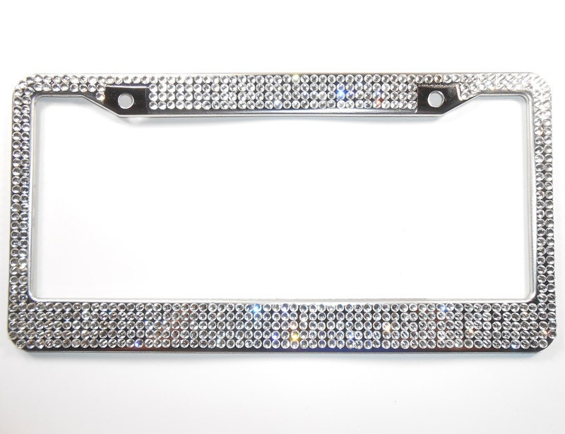 rhinestone bling license plate frame clear 5 row wscrew cap covers crystal car accessories gift for women car bling by bling car decor