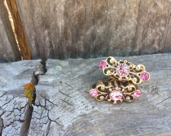 Gold and Pink Filigree Earrings