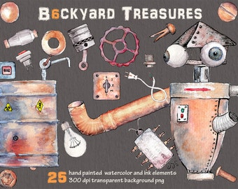 Watercolor clipart, Digital clipart, steam punk, hand painted clipart, hand drawn clipart, junk clipart, rust metal clipart