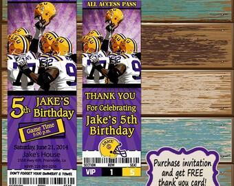 Personalized Digital Invitations LSU Tigers purple and Gold Football Ticket