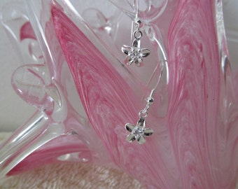 Petite Sterling Silver Flower  Earring With Clear Crystal Center